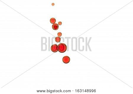 Red wine bubbles isolated over white background