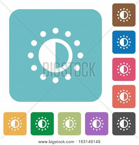Saturation control white flat icons on color rounded square backgrounds