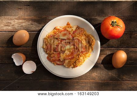 Thai Cuisine and Food Delicious Thai Style Omelet with Tomatoes