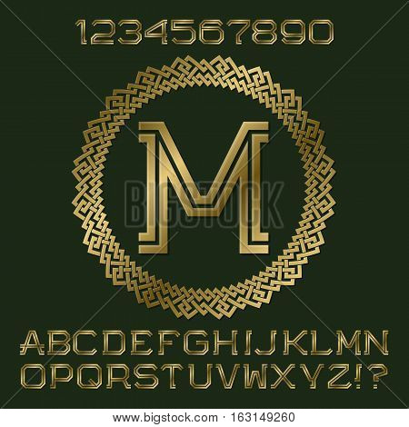 Golden angular letters and numbers of two stripes. Monogram in decorative round frame. Fashion presentable font kit for logo design.