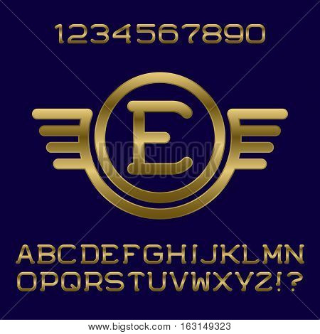 Golden gradient letters and numbers with initial monogram in winged frame. Stylish font kit for logo design.