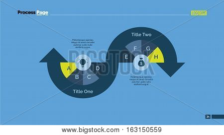 Process arrow diagram with two arrows. Progress chart. Element of presentation. Concept for infographic, business templates, report. Can be used for topics like business, research, analysis