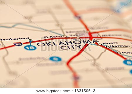 an oklahoma city area on a map