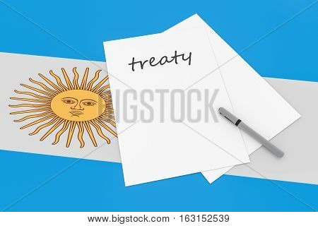 Argentine Politics: Treaty Note With Pen On Argentina Flag 3d illustration