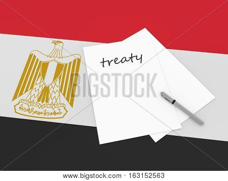 Egyptian Politics: Treaty Note With Pen On Egypt Flag 3d illustration