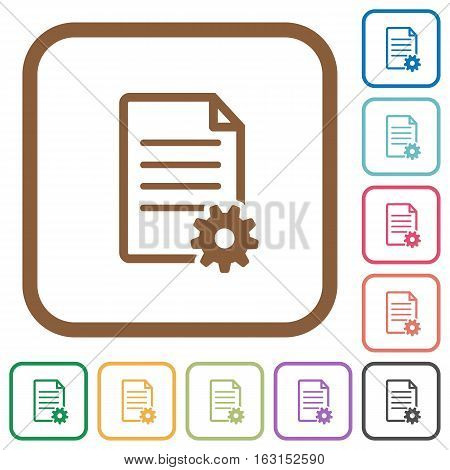 Document setup simple icons in color rounded square frames on white background