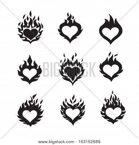 flame hearts icons, black color silhouette, isolated on white background, vector illustration logos set