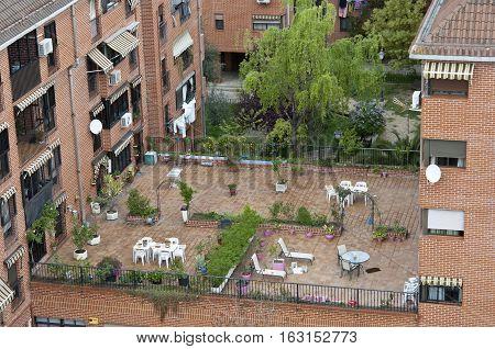 Communal terrace between buildings in Carabanchel suburb Madrid spain