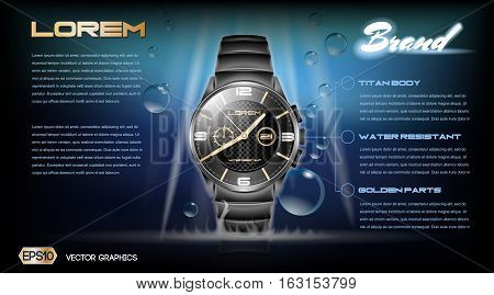 Digital vector dark silver classic man watch mockup with blue bubbles, with your brand, ready for print ads or magazine design. Glossy and shine, realistic 3d style