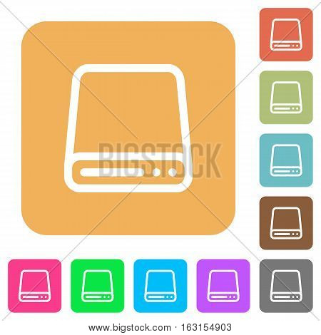 Hard disk drive icons on rounded square vivid color backgrounds.