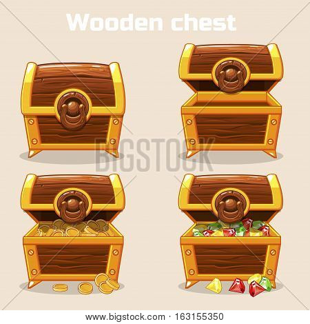 Opened and closed antique treasure chest with coins and diamonds, set icons, game and UI elements