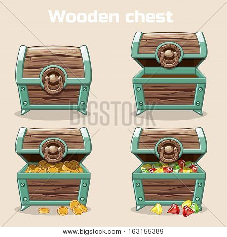 Opened and closed antique treasure chest with coins and diamonds, set icons 2, game and UI elements