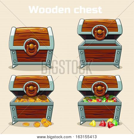 Opened and closed antique treasure chest with coins and diamonds, set icons 3, game and UI elements