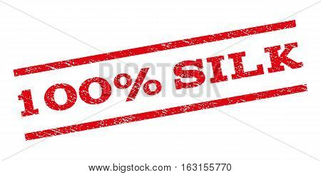 100 Percent Silk watermark stamp. Text tag between parallel lines with grunge design style. Rubber seal stamp with dust texture. Vector red color ink imprint on a white background.