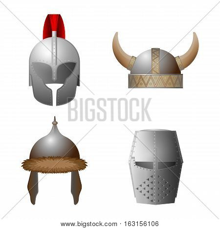 Set of medieval helmets. Viking, knight, horned, Coppergate helmet collection. Military caps of middle ages. Hats with iron elements. Headwear for knight tournament, joust. Vector illustration