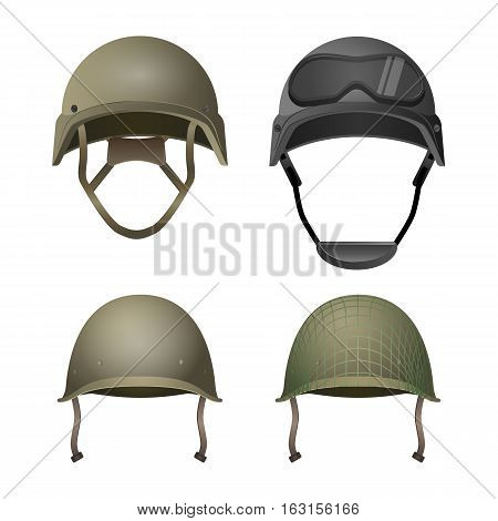 Set of military helmets. Classical, with goggles, combat and with projection lines. Different types of army headgear. Protective head cover element. Choose your uniform in paintball game. Vector