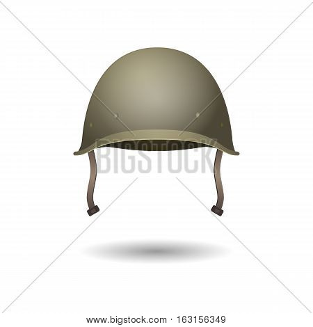 Military classical green helmet. US helmet infantry of Second World War. Front view. Metallic army symbol of defense. Army helmet isolated on white. War armor hat with leather tie. Vector illustration
