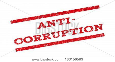 Anti-Corruption watermark stamp. Text caption between parallel lines with grunge design style. Rubber seal stamp with dust texture. Vector red color ink imprint on a white background.