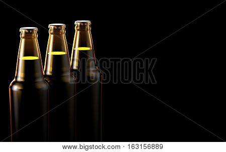 Close up bottles of beer on a black background.