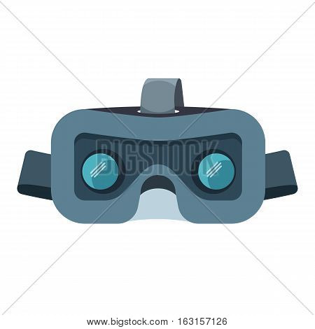 VR headset isolated on white. Stereoscopic 3d virtual reality vector illustration. Digital cyberspace technology goggles. Innovation technologies device in flat style. Entertainment gamer glasses