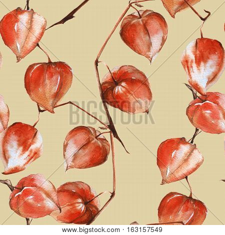 Background branch with the fruits of physalis. Seamless pattern. Pattern for fabric. Watercolor illustration.