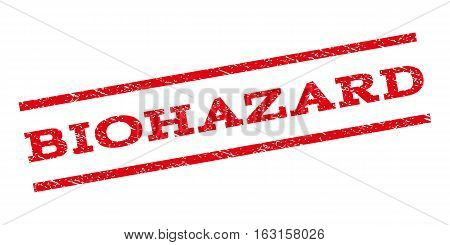 Biohazard watermark stamp. Text tag between parallel lines with grunge design style. Rubber seal stamp with unclean texture. Vector red color ink imprint on a white background.
