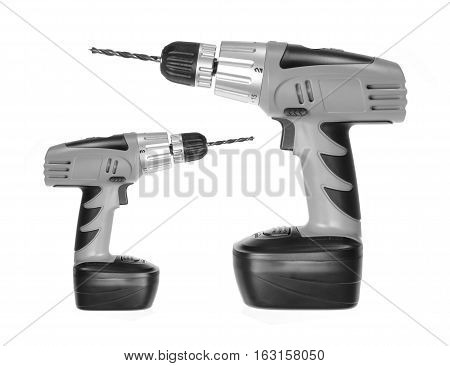 Big and Small Electric Drills on White Background