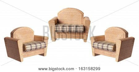 Miniature Armchairs on an Isolated White Background