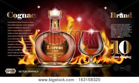 Cognac bottle and glass without lables. Realistic Fire background. Mock up, 3D Vector illustration