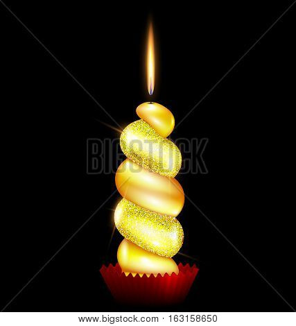black background and the large yellow burning candle