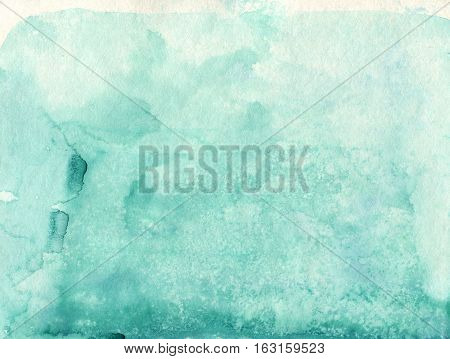 Absrtact soft watercolor backgraund. Hand painted light watercolor blue sky and clouds art, turquoise vibrant paper texture