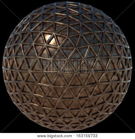 Metal sphere wrapped into triangular tessellation mesh, isolated on black background, 3D rendering.