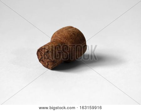 COLOR PHOTO OF WINE CORK WITH WHITE BACKGROUND