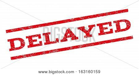Delayed watermark stamp. Text caption between parallel lines with grunge design style. Rubber seal stamp with unclean texture. Vector red color ink imprint on a white background.