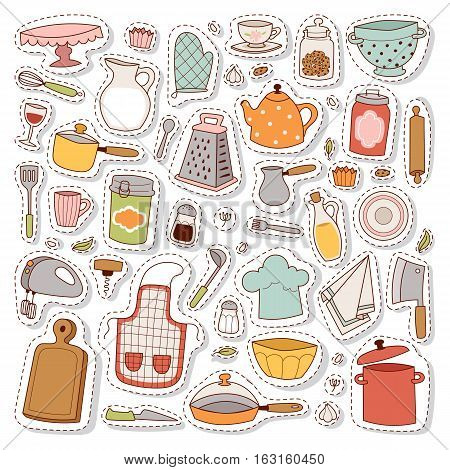 Kitchen con hand drawn accessory patches set. Restaurant modern knife cooking kitchen icons. Household utensil teapot and kettle tools. Workwear for cooking or food preparation.