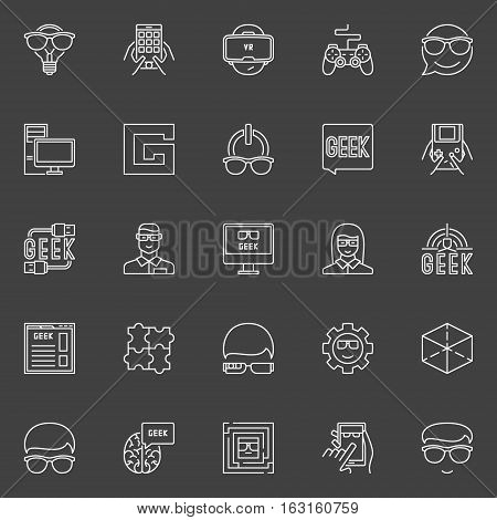 Geek line vector icons. Collection of faces with glasses outline symbols and other creative nerd signs on dark background