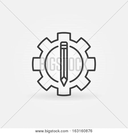Pencil in the gear icon. Vector copywriting and blogging symbol or logo element in thin line style