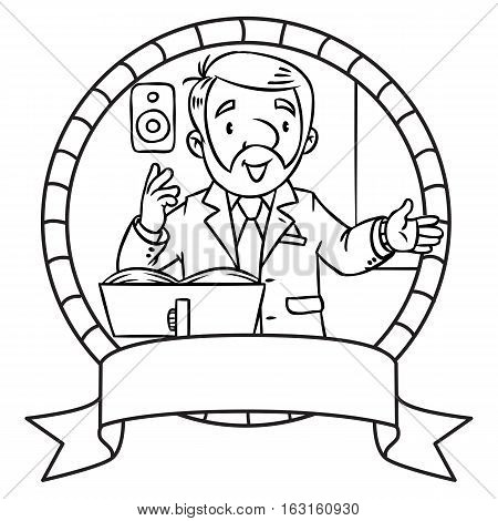 Coloring book of funny univercity lector. A man with a beard is giving a lecture or lesson, or tells something, near the stand for book. Profession series. Childrens vector illustration. Emblem