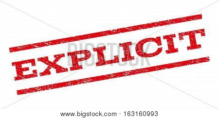 Explicit watermark stamp. Text caption between parallel lines with grunge design style. Rubber seal stamp with unclean texture. Vector red color ink imprint on a white background.