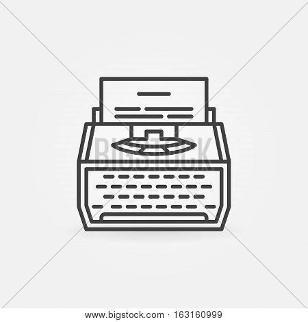 Typewriter line icon. Vector minimal copywriting concept symbol