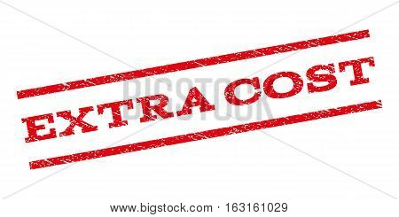 Extra Cost watermark stamp. Text tag between parallel lines with grunge design style. Rubber seal stamp with dirty texture. Vector red color ink imprint on a white background.