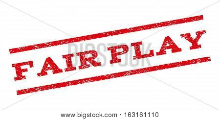 Fair Play watermark stamp. Text tag between parallel lines with grunge design style. Rubber seal stamp with scratched texture. Vector red color ink imprint on a white background.