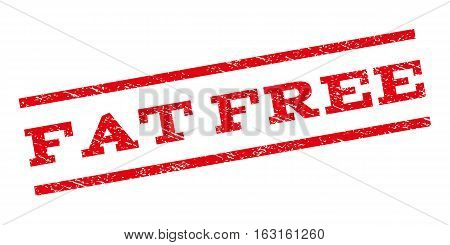 Fat Free watermark stamp. Text caption between parallel lines with grunge design style. Rubber seal stamp with scratched texture. Vector red color ink imprint on a white background.