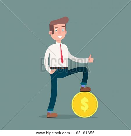 Vector illustration of businessman proudly standing on the huge money staircase. Flat style business concept. Vector illustration.