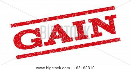 Gain watermark stamp. Text caption between parallel lines with grunge design style. Rubber seal stamp with dust texture. Vector red color ink imprint on a white background.