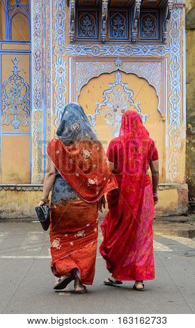 Indian Women On Street In Jaipur, India