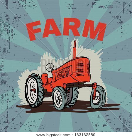 Farm Tractor Grunge Illustration T-shirt Print Design Vector illustration