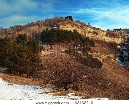 Panoramic view of a hill and Temple of mountain air on its top Kislovodsky Resort park