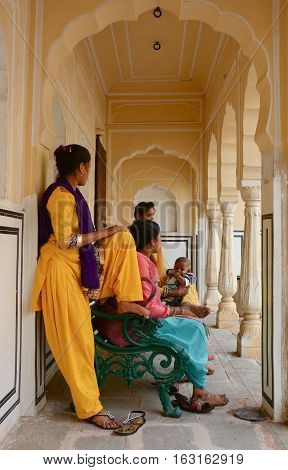 Indian Women On Street In Jaipur, India