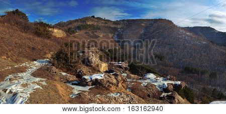 Panoramic view of mountains in Kislovodsky Resort park, Russia